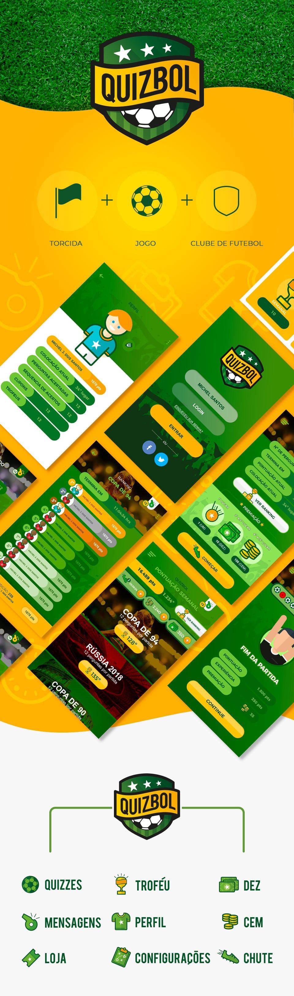 Quizbol - Identidade visual (logo, iconografia e redes sociais) e UI/UX do aplicativo sobre futebol mundial desenvolvido pela Junt
